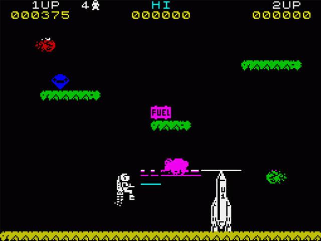La grafica definita e colorata e l'azione adrenalinica e veloce di JetPac non avevano nulla da invidiare ai piú gettonati coin-op dell'epoca.