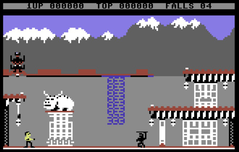 Le prime fasi di gioco (C64). Notare il toro votivo che controlla attentamente la situazione