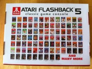 Il retro dell'Atari FB con l'elenco dei giochi disponibili...