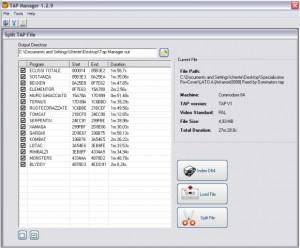 Aperto il TapManager, impostiamo la directory di output e carichiamo un file multitap. Vedremo i vari titoli dei giochi contenuti. Selezioniamo tutto e click su index D64